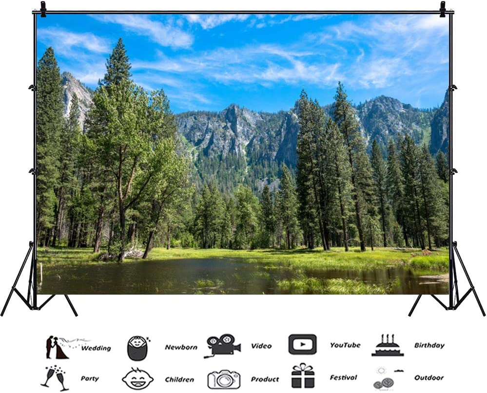 CSFOTO 10x7ft Natural Scenery Backdrop Snow Mountain and Trees Water Background for Photography Themed Party Backdrop Water Reflection Cloudy Interior Decor Adults Portraits Photo Wallpaper