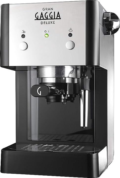 Grangaggia gaggia deluxe black macchina manuale per il caffè espresso, per macinato e cialde, 15 bar, nera2 RI8425/11