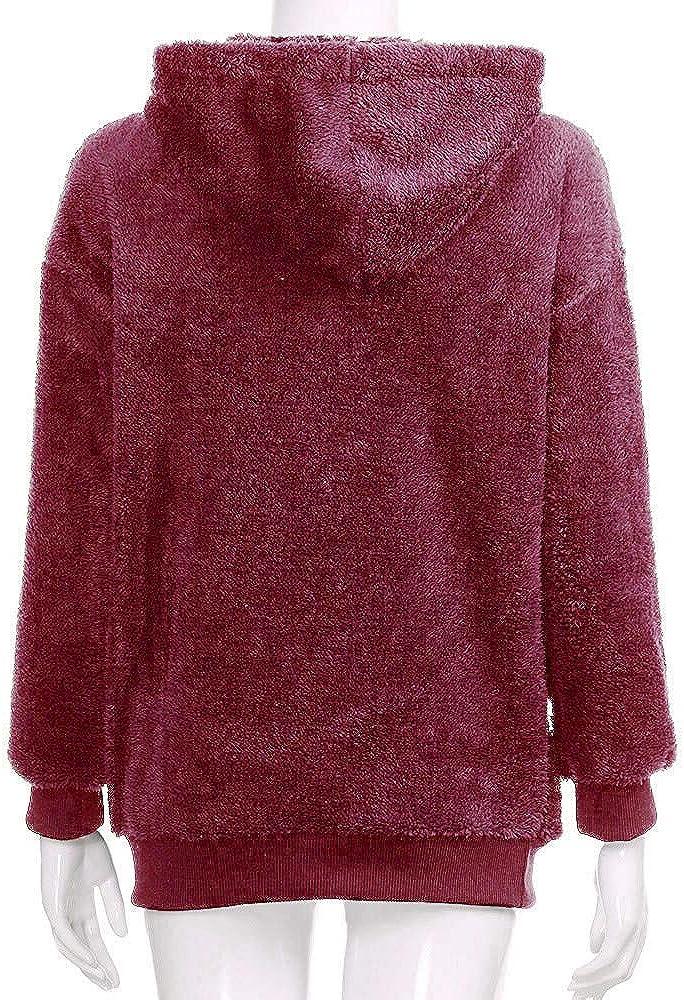 iHENGH Damen Herbst Winter Bequem Lässig Mode Jacke Frauen Mode Frauen Knopf Mantel Flauschige Schwanz Tops Mit Kapuze Lose Mantel B Wein