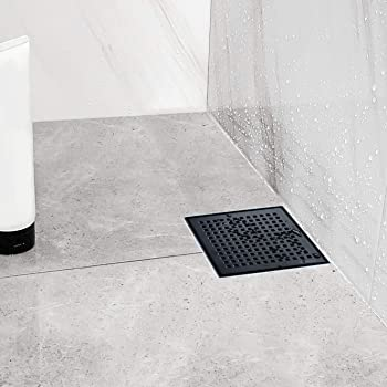Neodrain Square Shower Drain with Removable Quadrato Pattern Grate, 6-Inch, Brushed 304 Stainless Steel, with WATERMARK&CUPC Certified,Black