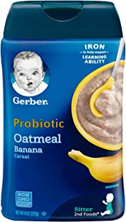 Gerber Baby Cereal Probiotic Oatmeal & Banana Baby Cereal Canister, 8 oz
