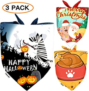 Dog Bandana Halloween Christmas Dog Scarves and Thanksgiving Day Dog Triangle Bibs Holidays Set for Large Medium Small Dogs&Cats Pet Bandana Pack as Xmas Gifts for Dogs Neckerchief Accessories