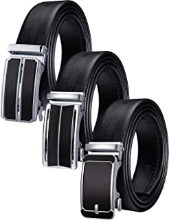 Barry.Wang Men's Belt Set Ratchet Real Leather with Automatic Slide Buckle Formal Gift Set