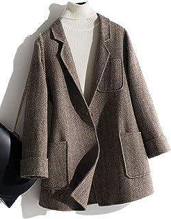 茜欧莉 复古西装领100% 羊毛双面呢大衣女士 秋冬新款休闲宽松斜纹毛呢大衣外套 S1732