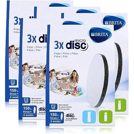 BRITA Lot de 3 filtres à eau MicroDisc - Compatible avec les bouteilles filtrantes BRITA fill&go et les carafes filtrantes BRITA fill&serve (pack de 5)