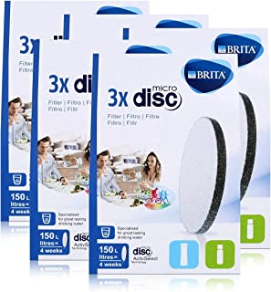 BRITA Lot de 3 filtres à eau MicroDisc - Compatible avec les bouteilles filtrantes BRITA fill&go et les carafes filtra...