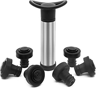Wine Saver Pump Preserver, Update 6 Vacuum Wine Stoppers with Exhaust Button, Bottle Sealer for Keep Wine Fresh