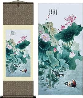 Grace Art Asian Wall Scroll, Mandarin Duck Couple With Water Lilies