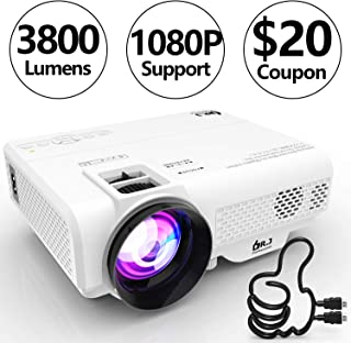 DR. J Professional 3800L Full HD 1080P Portable Video Projector Supported Mini Projector [Native 1280x720], TV Stick, HDMI, VGA, USB, TF, AV, Sound Bar, Video Games Compatible Latest Upgrade