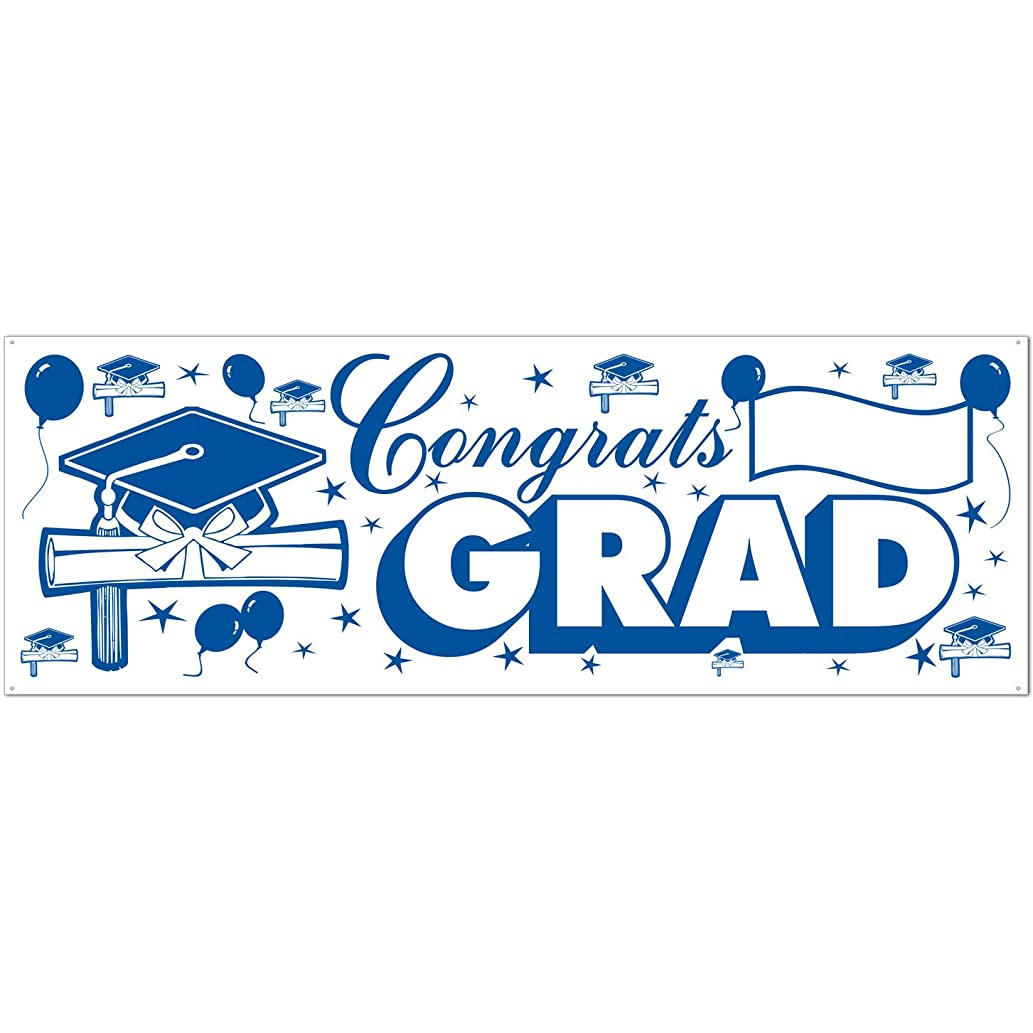 Congrats Grad Sign Banner (blue & white) Party Accessory  (1 count) (1/Pkg)