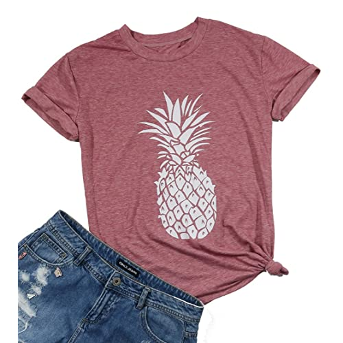 0886d7dc8f8 DUTUT Pineapple Printed Funny T Shirt Women s Summer Fruits Lover Casual  Short Sleeve Tops Blouse