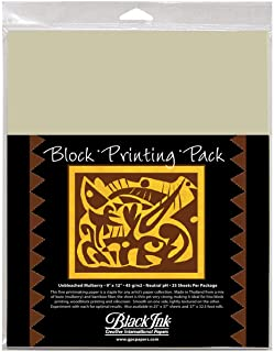 Black Ink 9-Inch by 12-Inch Unbleached Mulberry Block Printing Paper, 25-Pack