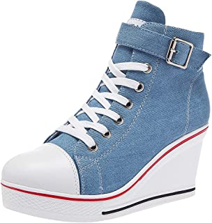 rismart Donna High Top Zeppa Espadrillas Casuale Moda Sneaker