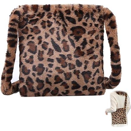 Plüsch Lässige Umhängetasche Leopardenmuster Tasche Plüsch Flauschige Damen Handtasche Leoparden Schultertaschen Flauschigen Winter Schultertasche Retro Mode Tasche Große Kapazität für Mädchen
