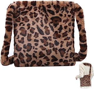 Plüsch Lässige Umhängetasche Leopardenmuster Tasche Plüsch Flauschige Damen Handtasche Leoparden Schultertaschen Flauschig...