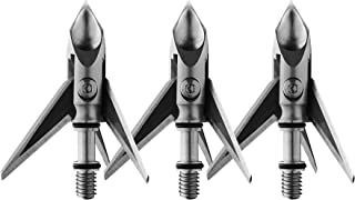 Ramcat Hydroshock Pivoting Broadheads – 100 Grain, Silver/Stainless Steel, Front & Rear Sharpened Blades - (3 Pack)