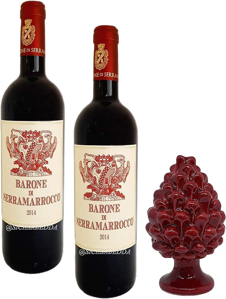sicilia bedda - barone di serramarrocco, 2 bottiglie di vino igp piu` pigna in ceramica, vino pluripremiato