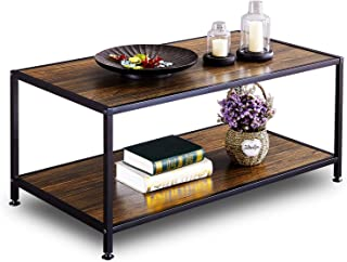 GreenForest Coffee Table Industrial for Living Room Wood Metal with Storage Walnut