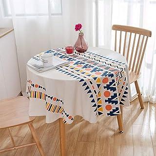 مفرش مائدة مربع من القطن والكتان بنمط بوهو، مقاوم للبهتان والتجاعيد، بقطر 59 انش، لغرفة الطعام والمطبخ