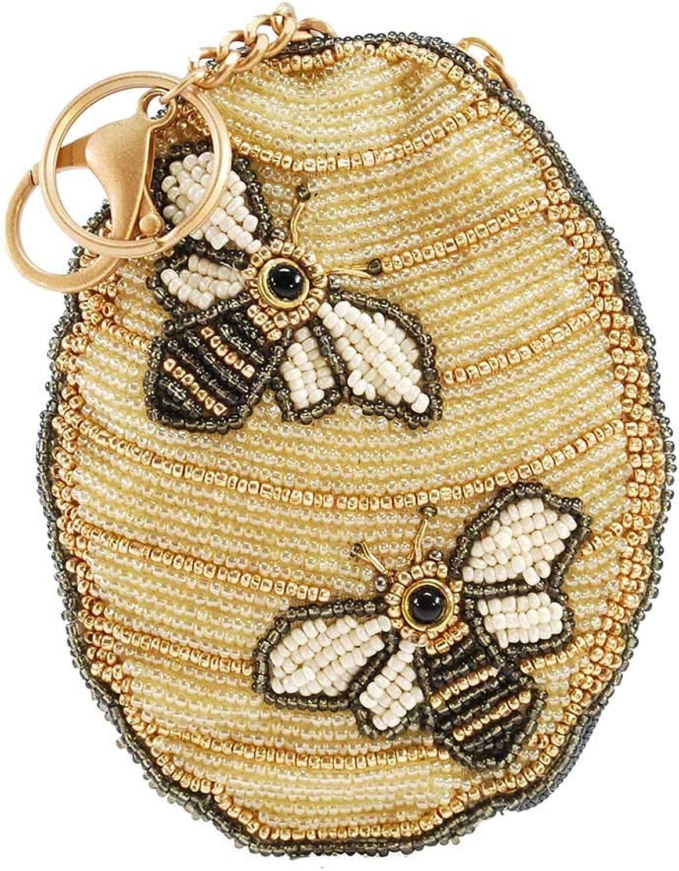 MARY FRANCES Oh Honey Beaded Honey Bee Hive Key FobCoin Purse