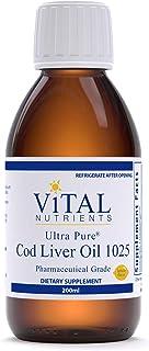 Vital Nutrients - Ultra Pure Cod Liver Oil 1025 (Pharmaceutical Grade) - 100% Pure Norwegian Cod Liver Oil - 200 ml per Bo...