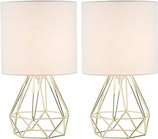 Valens 2Pcs Lampe de Chevet, 2 Pièces Lampe de Table avec Pied Géométrique et Tambour en Tissu Blanc, Lampe de Table de Nu...