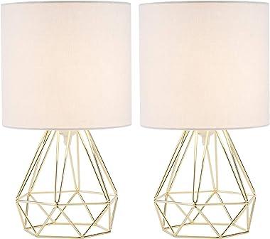 Valens 2Pcs Lampe de Chevet, 2 Pièces Lampe de Table avec Pied Géométrique et Tambour en Tissu Blanc, Lampe de Table de Nuit,