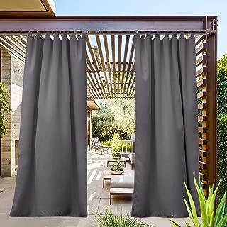 NICETOWN Outdoor Patio Curtain Waterproof 84 Long, Tab Top Heavy Weight Water Resistance Sunblock Window Treatment,Keep Privacy for Gazebo/Dock (1 Piece, W52 x L84 inch, Grey)