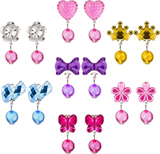 Hicarer 7 Pairs Christmas Crystal Clip on Earrings Girls Princess Jewelry Earring and 7 Pairs Earrings Pads in Pink Box (Style 1)