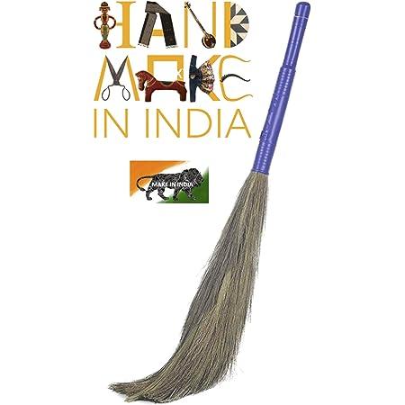 VXI® Soft Grass Broom Stick I Eco-Friendly I Plastic Handle I Jumbo size I King Size (Phool Jhadu, Mop) for All Floor Cleaning Prime (Multicolour) (1)