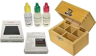 JSP 10k/14k/18k Gold Test Acid Solutions Tester Kit Detect Metals Scrap Jewelry + Wooden Box + PRO 2x2