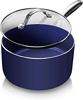 Granite Stone Diamond 7035 Granite Stone Classic Blue Saucepan with Ultra Nonstick & Durable Mineral Derived & Diamond Reinforced Surface, Stay Cool Handles & Tempered Glass Lid, 2.5 Quart Sauce Pan