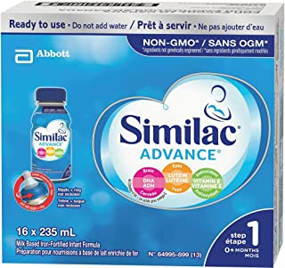 Similac Advance Step 1 Non-gmo Baby Formula, Ready To Use, 235ml, 0+ Months, Blue, 16 Count