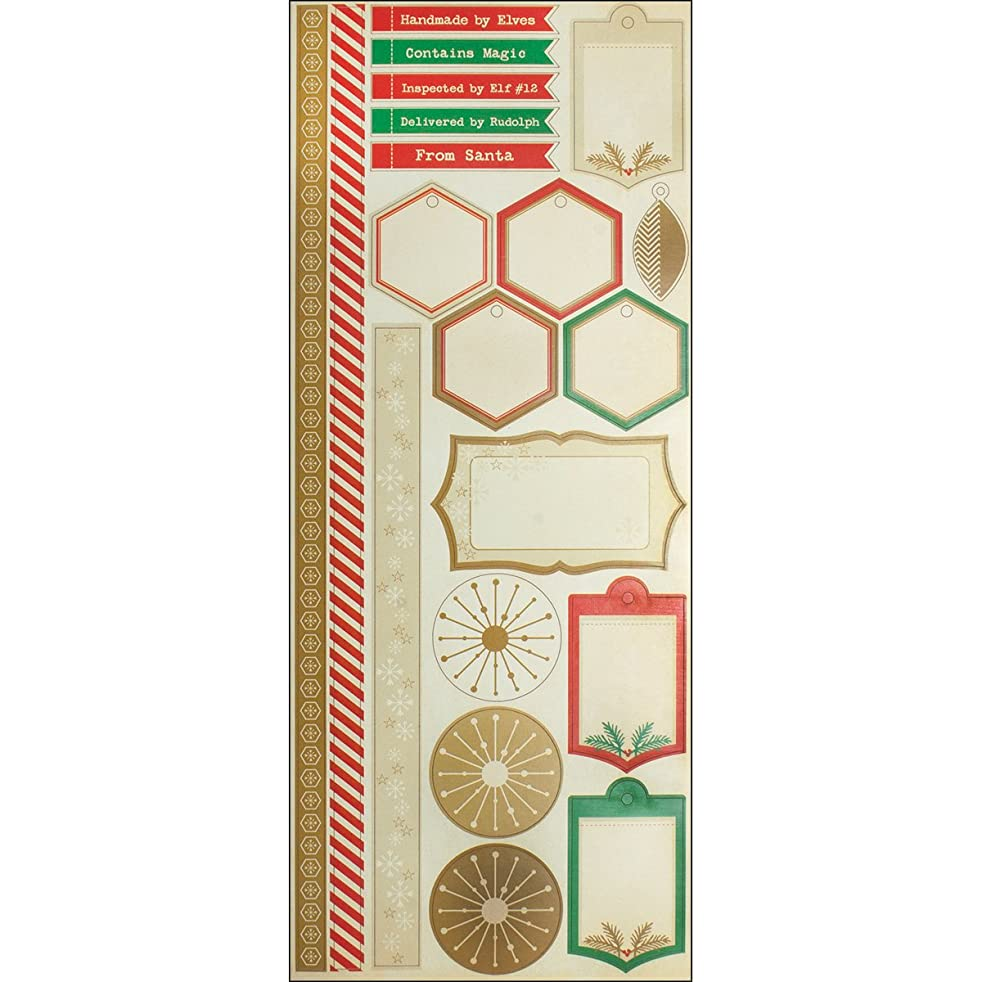 Cosmo Cricket COS68132 Jolly Days Sticker Sheet, 20 Stickers, Cardstock, Holiday Designs, Multicolored