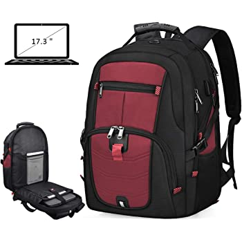 Laptop Backpack 17 Inch Waterproof Extra Large TSA Travel Backpack Anti Theft College School Business Mens Backpacks with USB Charging Port 17.3 Gaming Computer Backpack for Women Men Red 45L