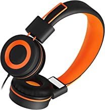 Kids Headphones for School Children- SIMILKY Stereo Tangle-Free 3.5mm Jack Wired Cord On-Ear Headset for Children 8-15 Years Old (Orange)