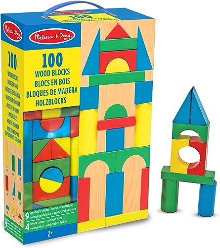 Melissa & Doug Juego de Bloques de Madera, Juguete de Desarrollo, 100 Bloques en 4 Colores y 9 Formas