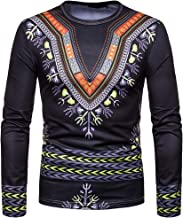 Cottory Mens Fashion Long Sleeve African Printed Pullover Casual Slim Fit Dashiki T Shirts