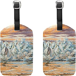 MASSIKOA The Horses Running from Waves Cruise Luggage Tags Suitcase Labels Bag,2 Pack