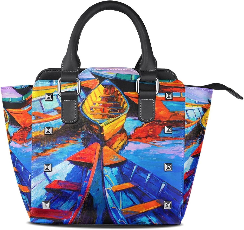 My Little Nest Women's Top Handle Satchel Handbag Oil Painting Boats Ladies PU Leather Shoulder Bag Crossbody Bag