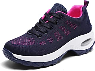 WOWEI Mocassini da Donna Leggere e Traspiranti Fitness Running Mesh Calzino Cuscino d'Aria Sneakers Zeppa Scarpe 35-42 EU