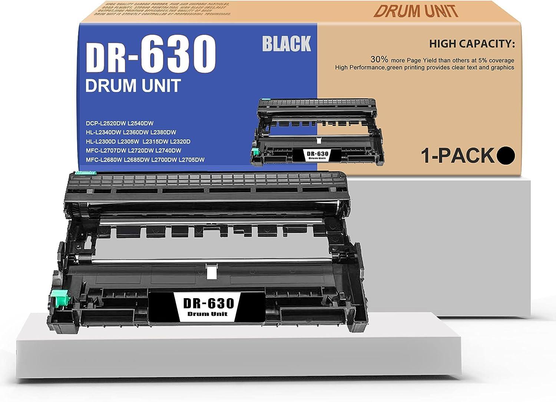 DR630 Compatible DR-630 Drum Unit Replacement for Brother DCP-L2520DW L2540DW MFC-L2680W L2685DW L2700DW HL-L2340DW L2360DW L2380DW Printer(1-Pack,Black).