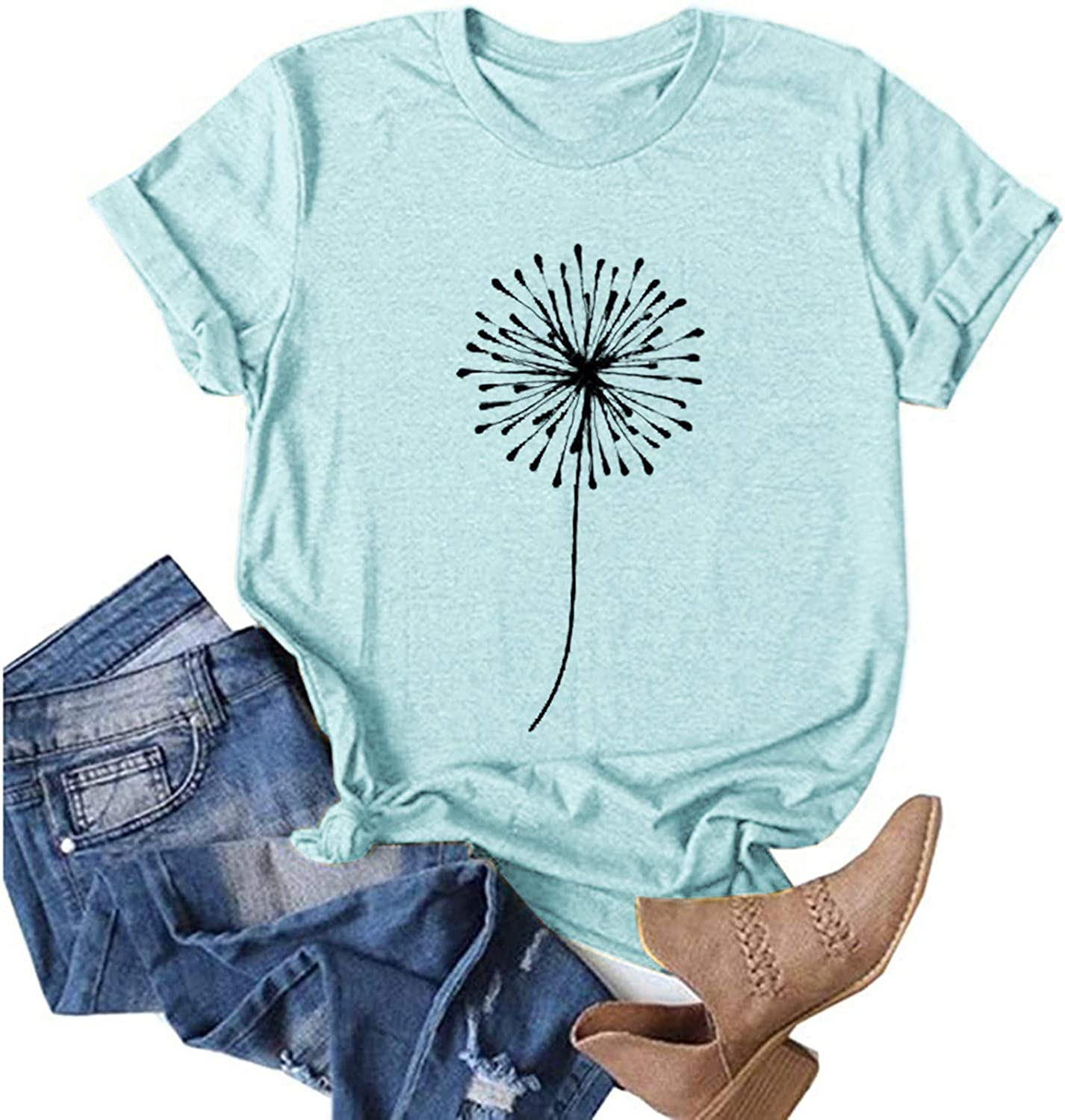 UOCUFY Womens Short Sleeve Tops, Womens Casual Summer Loose Fit Crewneck Graphic Tees Tunics Blouses Tops T Shirts
