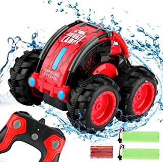 Tobeape Remote Control Car, 1/24 Scale Amphibious Vehicle for Kids 2.4GHz Off Road RC Truck with 4WD Electric Toy Car, 360� Spins & Flips High Speed RC Stunt Car Great Gift for Kids