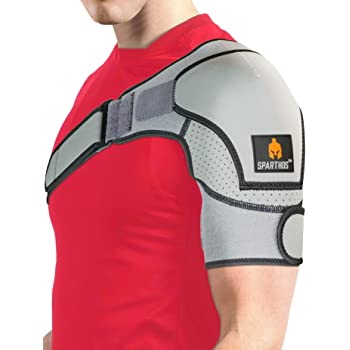 Sparthos Shoulder Brace - Support and Compression Sleeve for Torn Rotator Cuff, AC Joint Pain Relief - Arm Immobilizer Wrap, Ice Pack Pocket, Stability Strap, Dislocated Sholder - for Men and Women