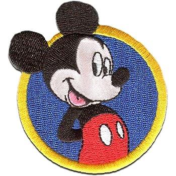azul termoadhesivos bordados aplique para ropa 7,5x7,5cm Parches Mickey Mouse sentado Disney