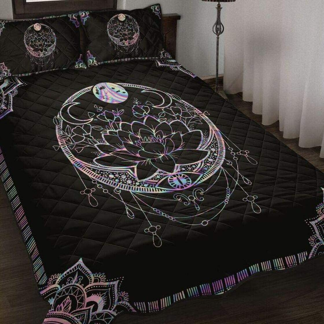 Witch Mandala Quilt Bedding Set Birthday for Da Direct store Gift Quilts Xmas Max 68% OFF