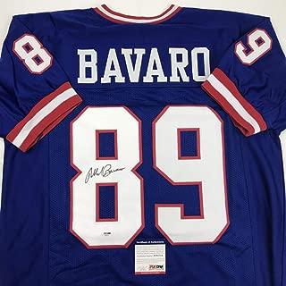 Autographed/Signed Mark Bavaro New York Blue Football Jersey PSA/DNA COA
