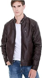 Men's Faux Leather Wind & Water Proof Biker Jacket Zipper