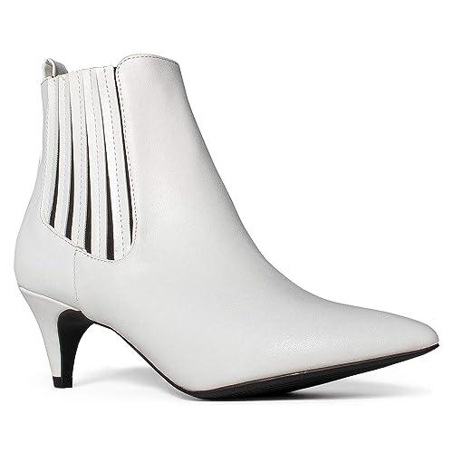 Women s Pointy Toe Kitten Heel Pull On Slim Fit Chelsea Ankle Booties 615d0563b
